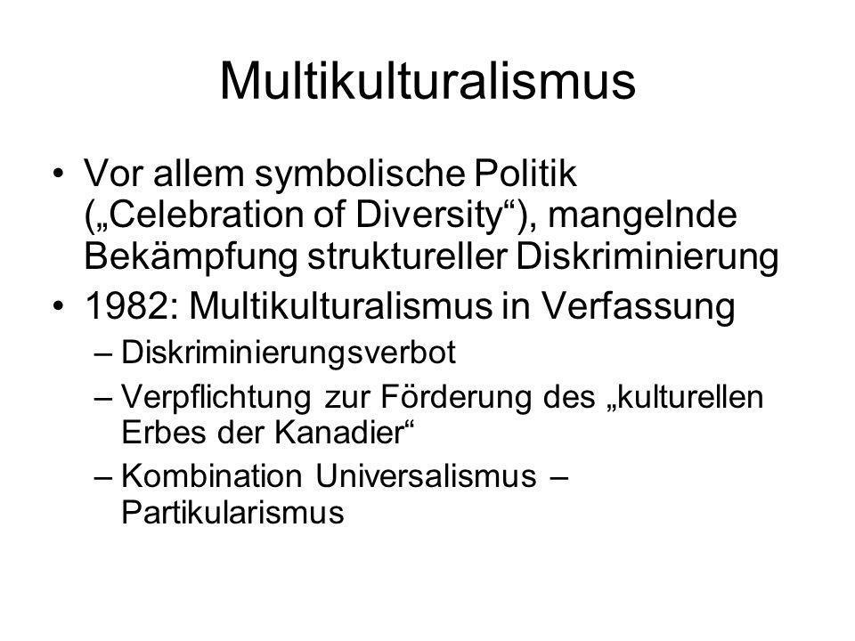 Multikulturalismus Vor allem symbolische Politik (Celebration of Diversity), mangelnde Bekämpfung struktureller Diskriminierung 1982: Multikulturalism