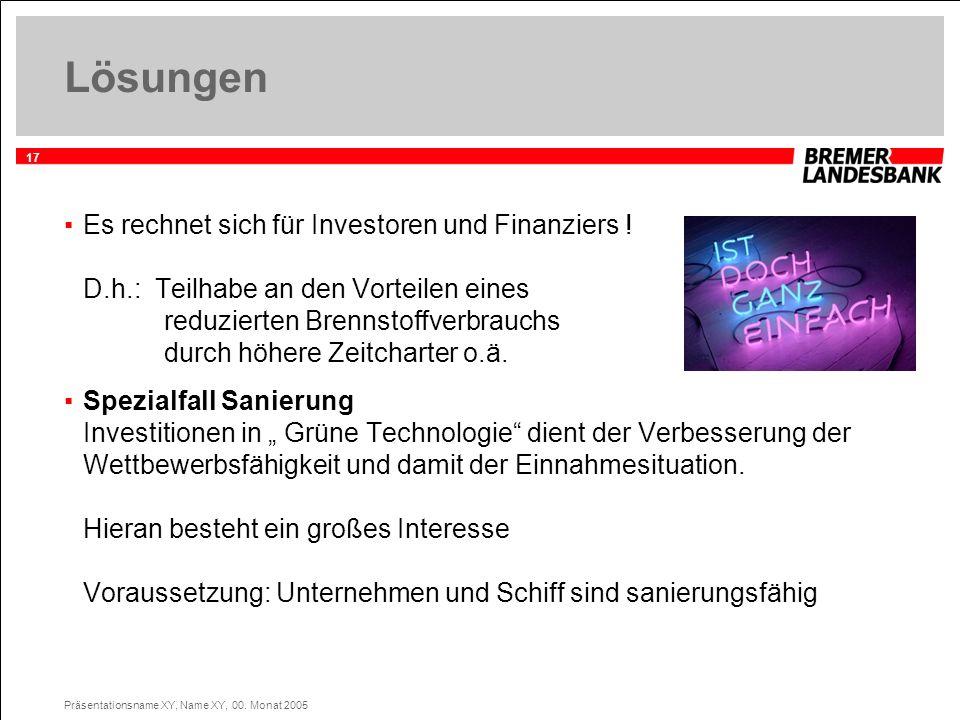 17 Präsentationsname XY, Name XY, 00. Monat 2005 Lösungen Es rechnet sich für Investoren und Finanziers ! D.h.: Teilhabe an den Vorteilen eines reduzi