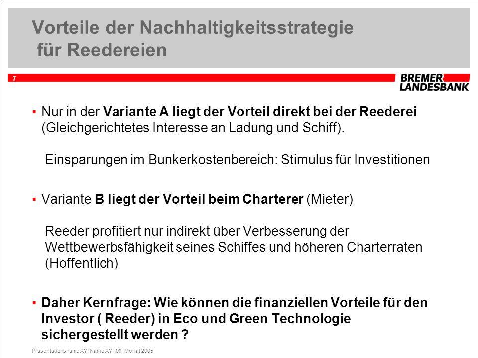 7 Präsentationsname XY, Name XY, 00. Monat 2005 Vorteile der Nachhaltigkeitsstrategie für Reedereien Nur in der Variante A liegt der Vorteil direkt be