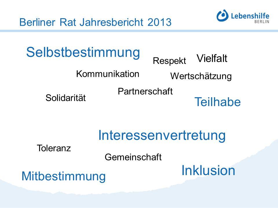 Berliner Rat Jahresbericht 2013 Selbstbestimmung Vielfalt Mitbestimmung Gemeinschaft Interessenvertretung Toleranz Inklusion Wertschätzung Partnerscha