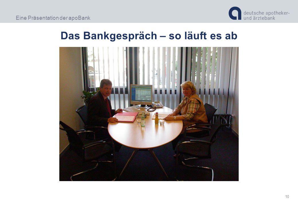 Eine Präsentation der apoBank 10 Das Bankgespräch – so läuft es ab