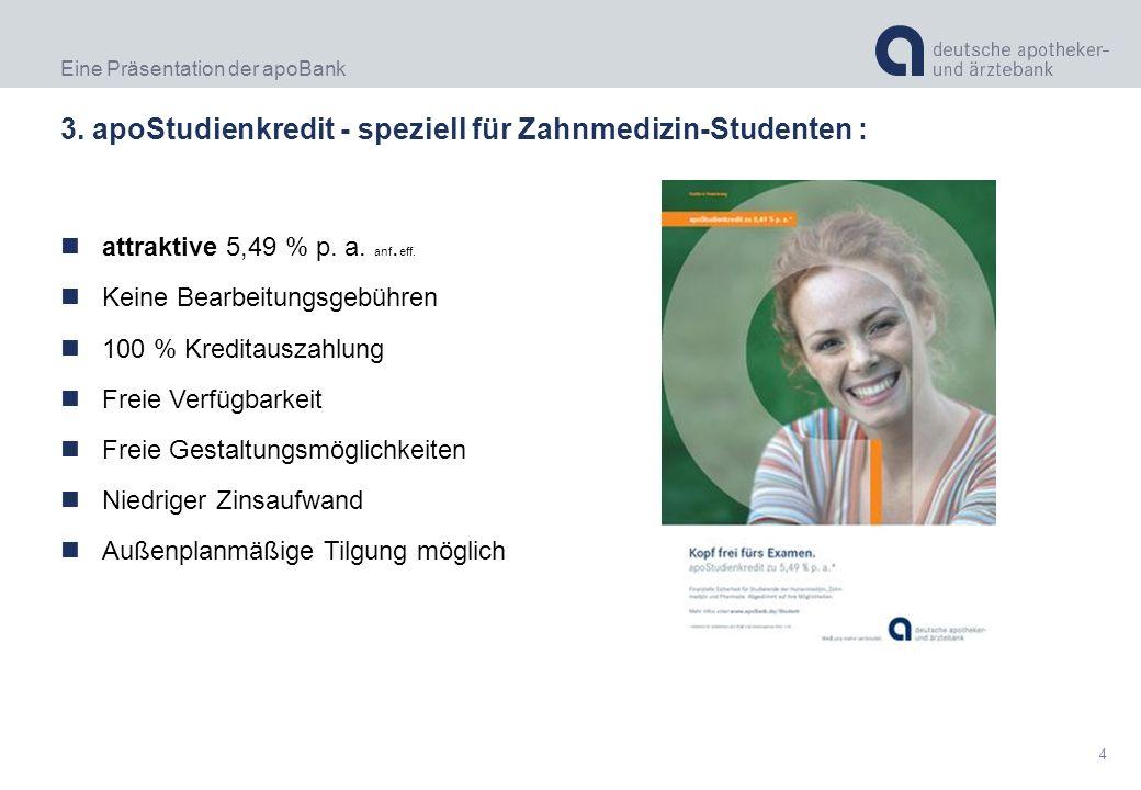 Eine Präsentation der apoBank 4 3. apoStudienkredit - speziell für Zahnmedizin-Studenten : attraktive 5,49 % p. a. anf. eff. Keine Bearbeitungsgebühre