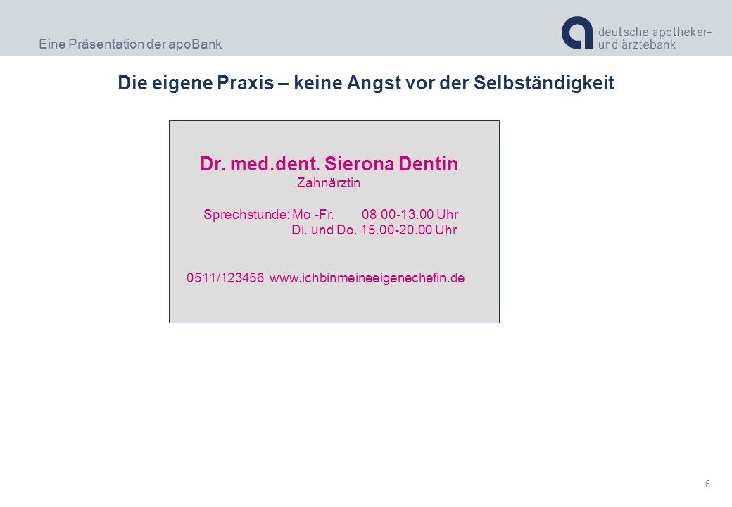 Eine Präsentation der apoBank 6 Die eigene Praxis – keine Angst vor der Selbständigkeit Dr. med.dent. Sierona Dentin Zahnärztin Sprechstunde: Mo.-Fr.