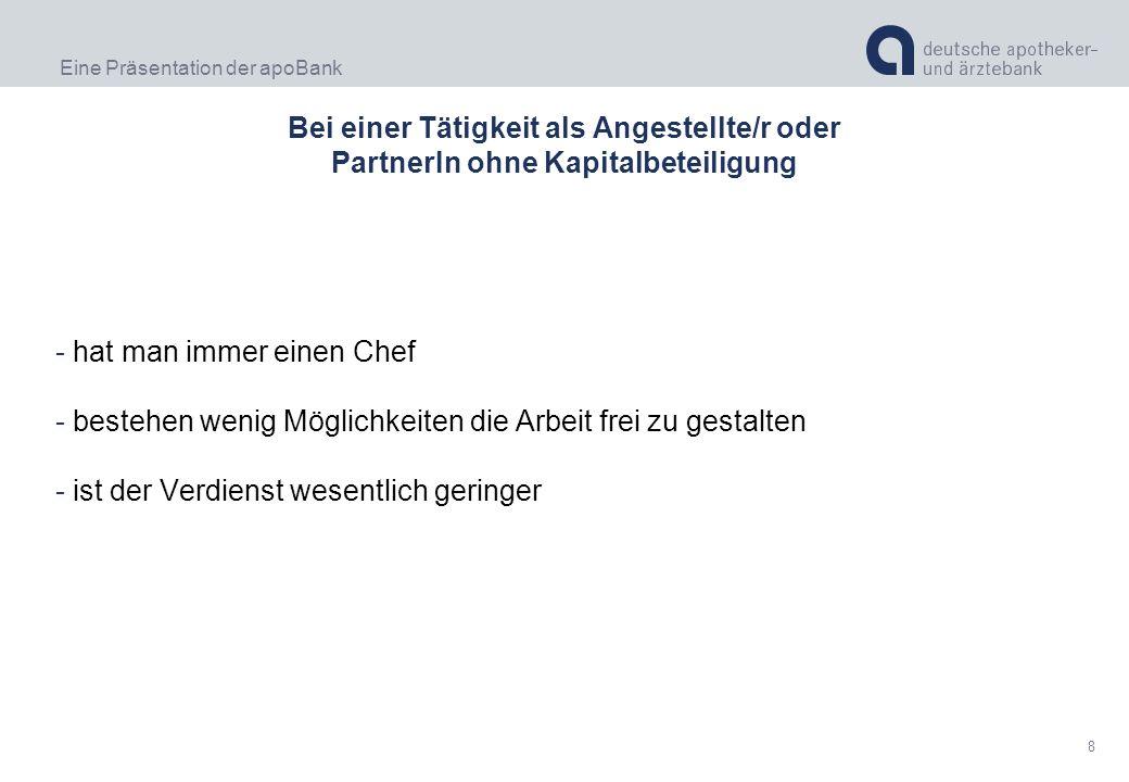 Eine Präsentation der apoBank 9 Das kostete eine Praxis durchschnittlich den/die GründerIn 2007* Neugründung:296.000,00 EUR zzgl.