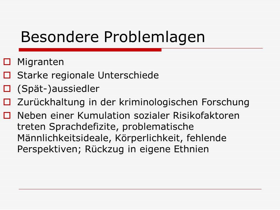 Besondere Problemlagen Migranten Starke regionale Unterschiede (Spät-)aussiedler Zurückhaltung in der kriminologischen Forschung Neben einer Kumulatio