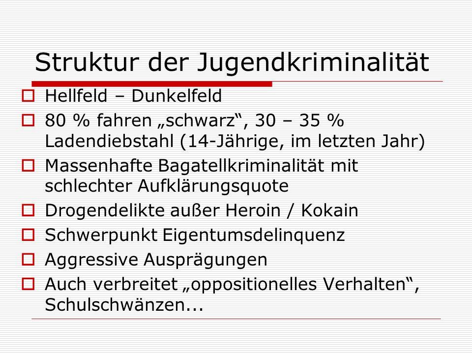 Struktur der Jugendkriminalität Hellfeld – Dunkelfeld 80 % fahren schwarz, 30 – 35 % Ladendiebstahl (14-Jährige, im letzten Jahr) Massenhafte Bagatell