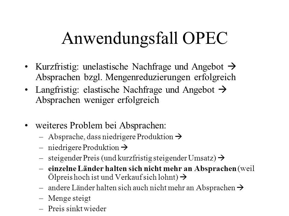 Anwendungsfall OPEC Kurzfristig: unelastische Nachfrage und Angebot Absprachen bzgl. Mengenreduzierungen erfolgreich Langfristig: elastische Nachfrage