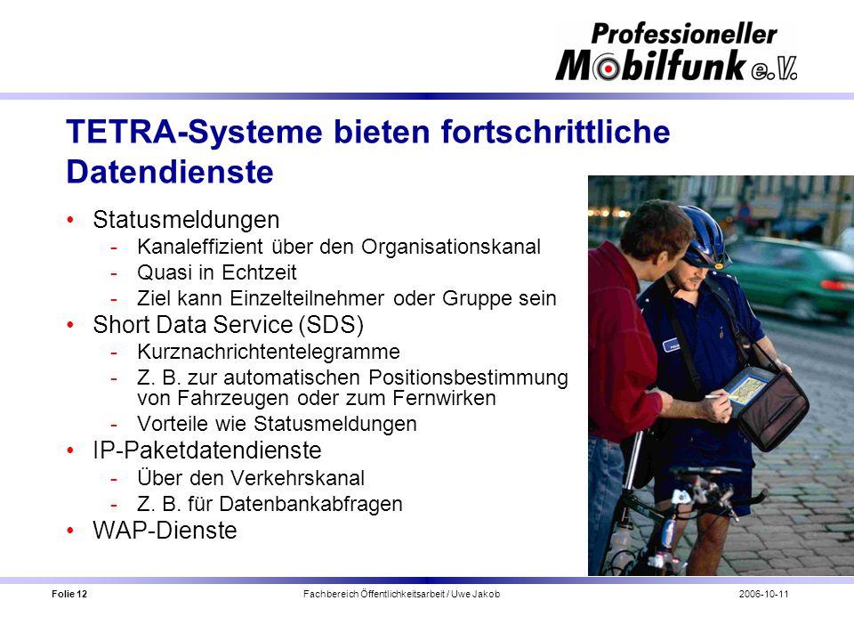 Folie 12 Fachbereich Öffentlichkeitsarbeit / Uwe Jakob2006-10-11 TETRA-Systeme bieten fortschrittliche Datendienste Statusmeldungen Kanaleffizient üb