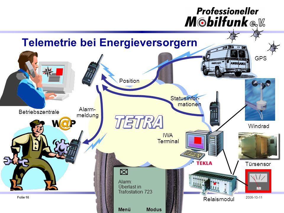 Folie 16 Fachbereich Öffentlichkeitsarbeit / Uwe Jakob2006-10-11 Telemetrie bei Energieversorgern Alarm: Überlast in Trafostation 723 MenüModus IWA Te