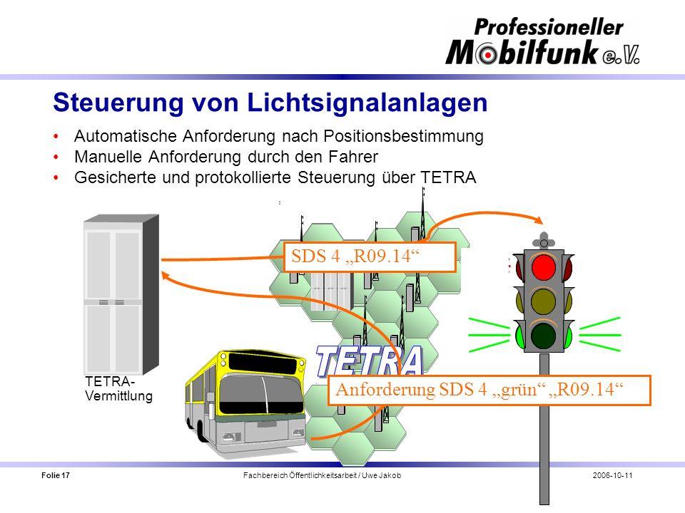 Folie 17 Fachbereich Öffentlichkeitsarbeit / Uwe Jakob2006-10-11 Steuerung von Lichtsignalanlagen Automatische Anforderung nach Positionsbestimmung Ma