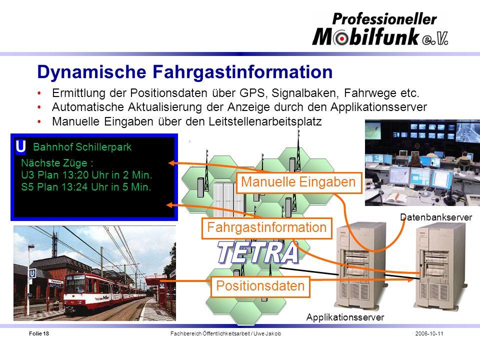 Folie 18 Fachbereich Öffentlichkeitsarbeit / Uwe Jakob2006-10-11 Dynamische Fahrgastinformation Ermittlung der Positionsdaten über GPS, Signalbaken, F