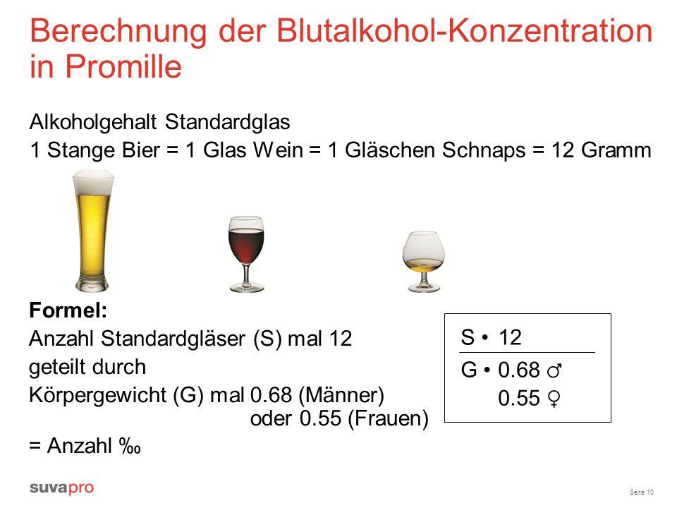 Seite 10 Berechnung der Blutalkohol-Konzentration in Promille Alkoholgehalt Standardglas 1 Stange Bier = 1 Glas Wein = 1 Gläschen Schnaps = 12 Gramm F