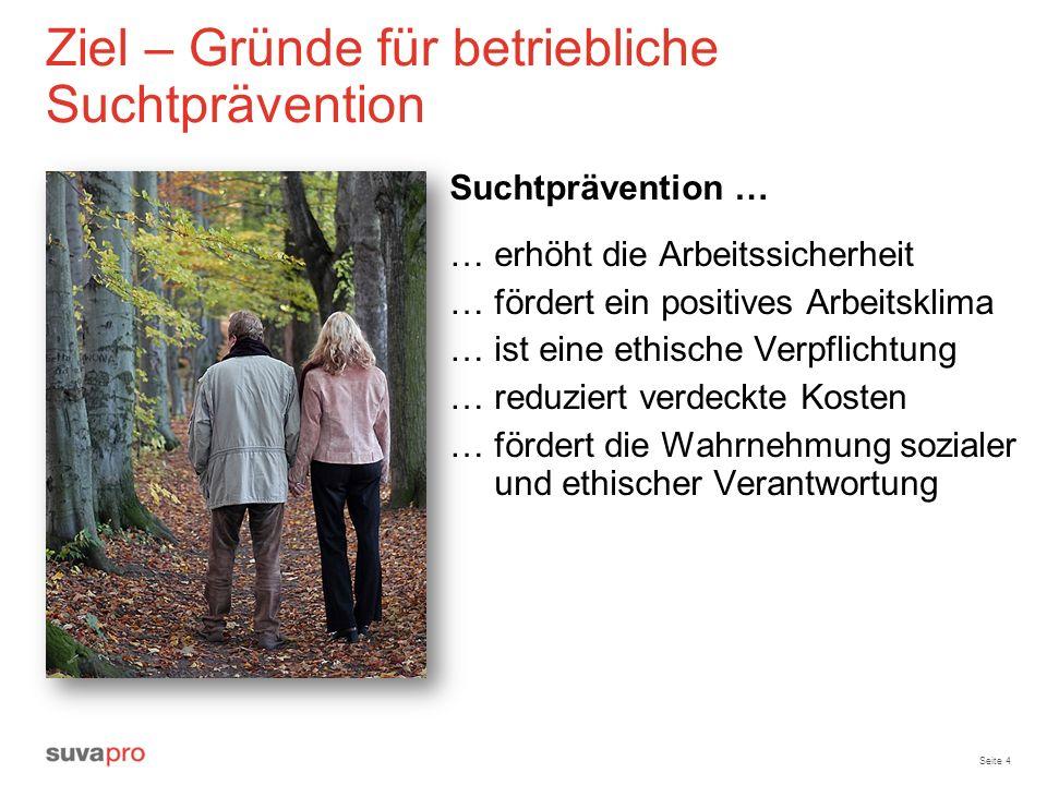 Seite 4 Ziel – Gründe für betriebliche Suchtprävention Suchtprävention … … erhöht die Arbeitssicherheit … fördert ein positives Arbeitsklima … ist ein