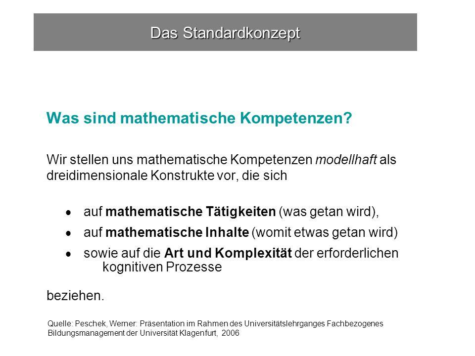 Das Standardkonzept Was sind mathematische Kompetenzen.
