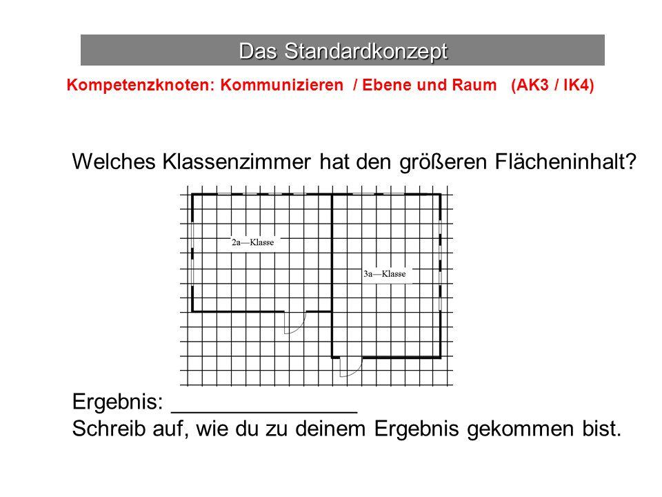 Das Standardkonzept Kompetenzknoten: Kommunizieren / Ebene und Raum (AK3 / IK4) Welches Klassenzimmer hat den größeren Flächeninhalt.