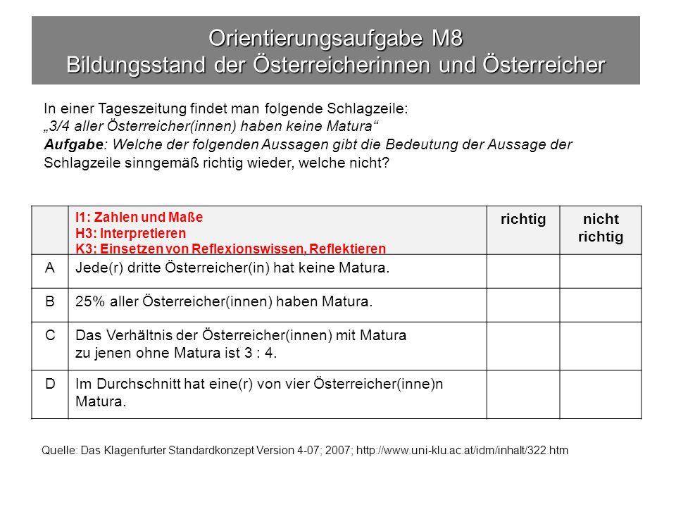 Orientierungsaufgabe M8 Bildungsstand der Österreicherinnen und Österreicher richtignicht richtig AJede(r) dritte Österreicher(in) hat keine Matura.