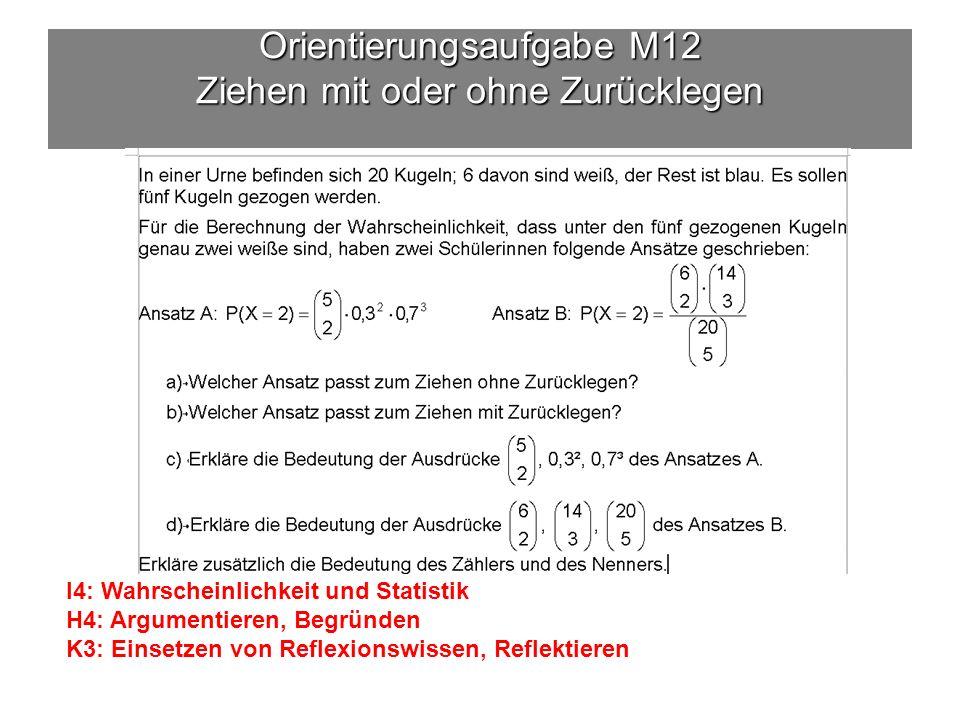 Orientierungsaufgabe M12 Ziehen mit oder ohne Zurücklegen I4: Wahrscheinlichkeit und Statistik H4: Argumentieren, Begründen K3: Einsetzen von Reflexionswissen, Reflektieren