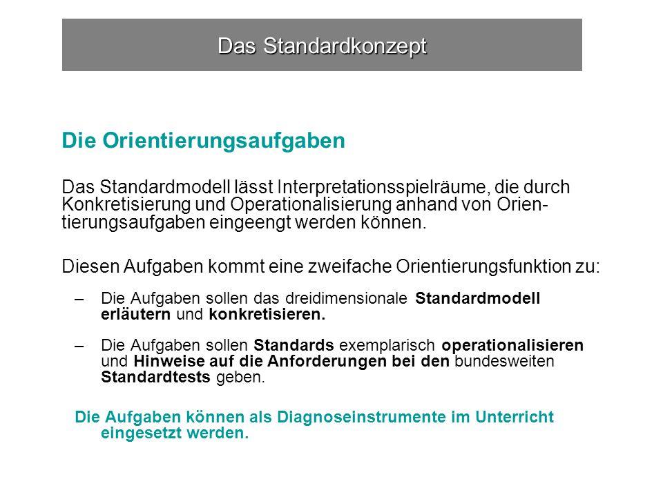 Das Standardkonzept Die Orientierungsaufgaben Das Standardmodell lässt Interpretationsspielräume, die durch Konkretisierung und Operationalisierung anhand von Orien- tierungsaufgaben eingeengt werden können.
