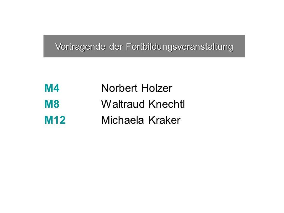 M4Norbert Holzer M8 Waltraud Knechtl M12Michaela Kraker Vortragende der Fortbildungsveranstaltung