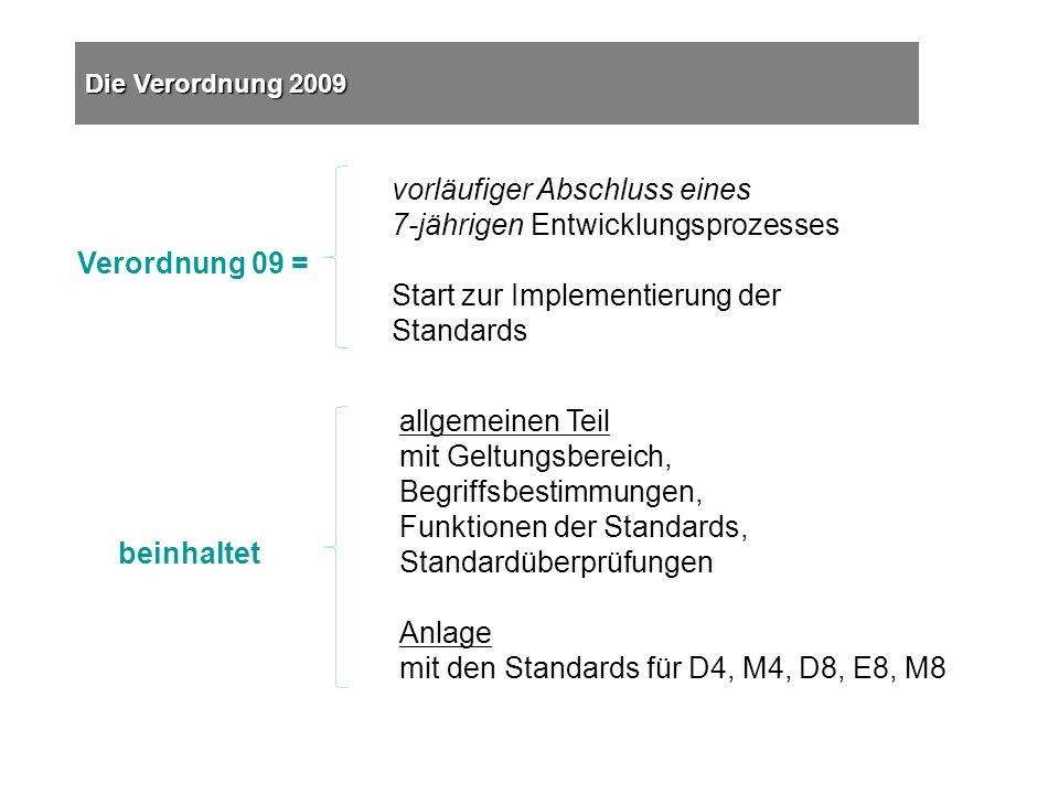 vorläufiger Abschluss eines 7-jährigen Entwicklungsprozesses Start zur Implementierung der Standards Verordnung 09 = Die Verordnung 2009 allgemeinen Teil mit Geltungsbereich, Begriffsbestimmungen, Funktionen der Standards, Standardüberprüfungen Anlage mit den Standards für D4, M4, D8, E8, M8 beinhaltet