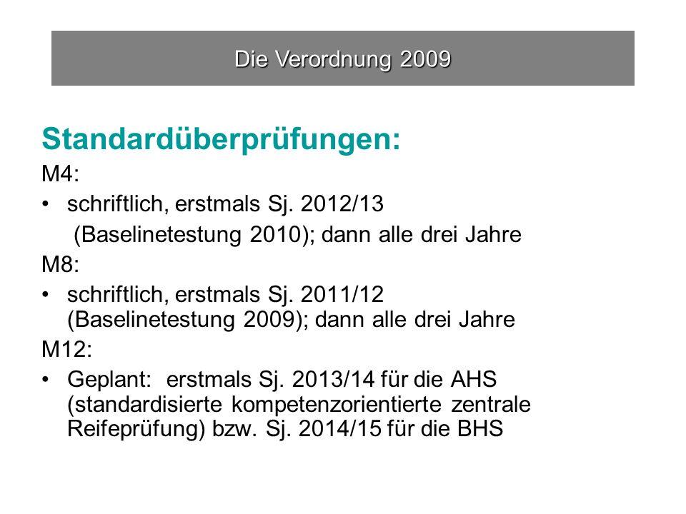Standardüberprüfungen: M4: schriftlich, erstmals Sj.