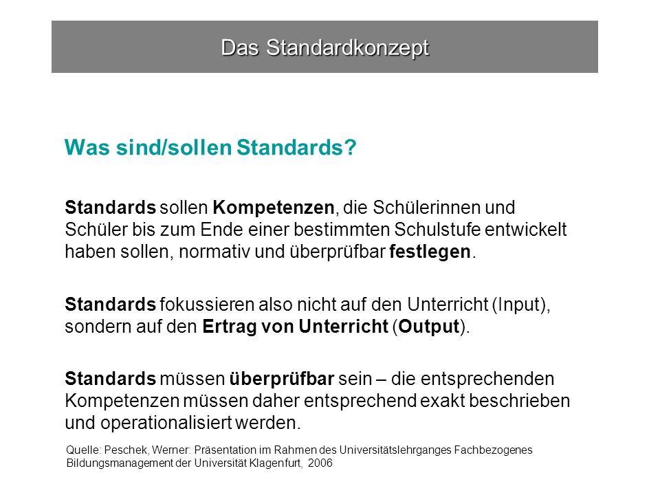 Das Standardkonzept Was sind/sollen Standards.