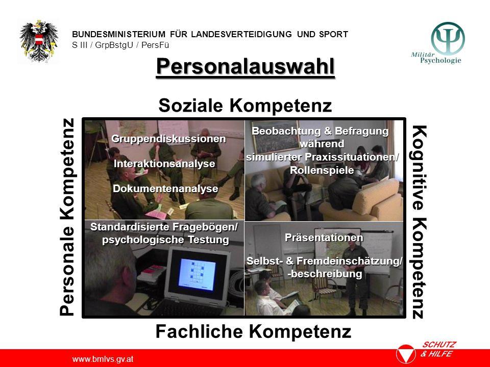 BUNDESMINISTERIUM FÜR LANDESVERTEIDIGUNG UND SPORT S III / GrpBstgU / PersFü www.bmlvs.gv.at Personalauswahl Beobachtung & Befragung während simuliert