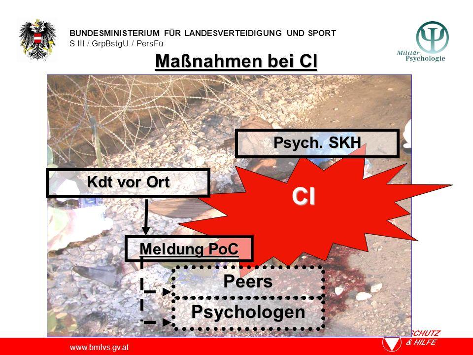 BUNDESMINISTERIUM FÜR LANDESVERTEIDIGUNG UND SPORT S III / GrpBstgU / PersFü www.bmlvs.gv.at CI Kdt vor Ort Meldung PoC Peers Psychologen Psych. SKH M