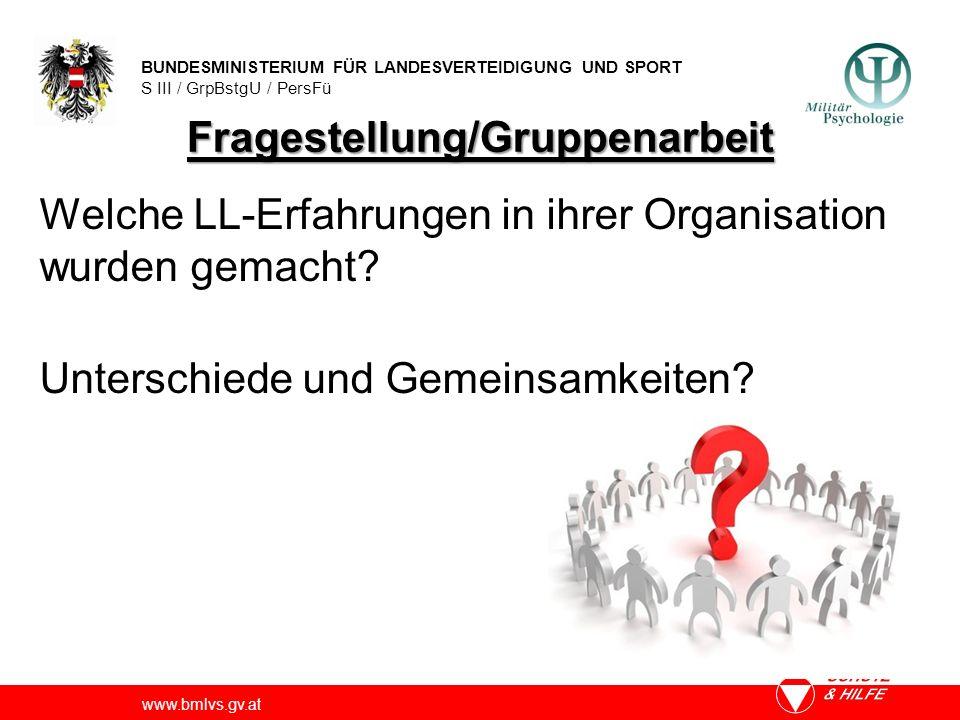 BUNDESMINISTERIUM FÜR LANDESVERTEIDIGUNG UND SPORT S III / GrpBstgU / PersFü www.bmlvs.gv.at Fragestellung/Gruppenarbeit Welche LL-Erfahrungen in ihrer Organisation wurden gemacht.