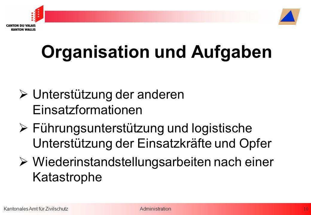 10 Kantonales Amt für ZivilschutzAdministration Organisation und Aufgaben Unterstützung der anderen Einsatzformationen Führungsunterstützung und logis