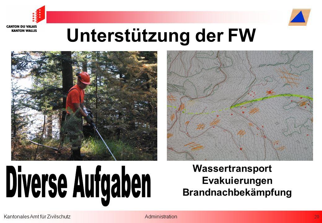 20 Kantonales Amt für ZivilschutzAdministration Wassertransport Evakuierungen Brandnachbekämpfung Unterstützung der FW