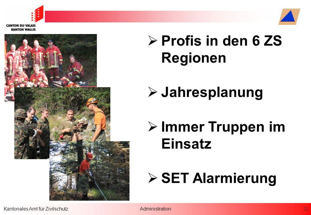 22 Kantonales Amt für ZivilschutzAdministration Profis in den 6 ZS Regionen Jahresplanung Immer Truppen im Einsatz SET Alarmierung