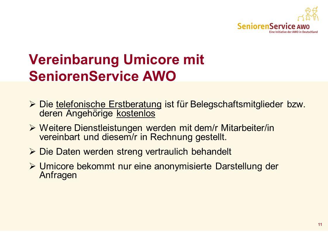 11 Vereinbarung Umicore mit SeniorenService AWO Die telefonische Erstberatung ist für Belegschaftsmitglieder bzw. deren Angehörige kostenlos Weitere D