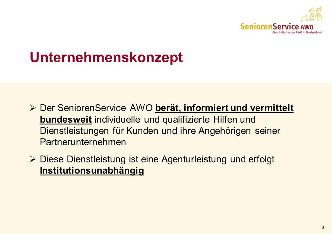 3 Der SeniorenService AWO berät, informiert und vermittelt bundesweit individuelle und qualifizierte Hilfen und Dienstleistungen für Kunden und ihre A