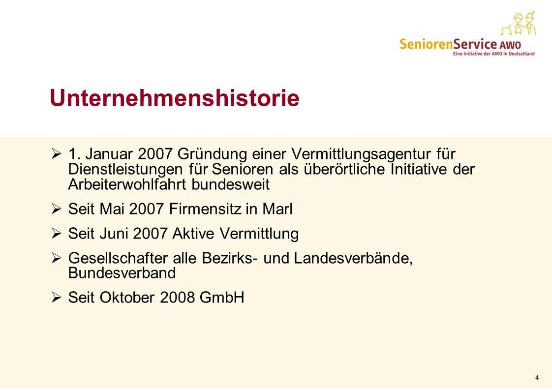 4 1. Januar 2007 Gründung einer Vermittlungsagentur für Dienstleistungen für Senioren als überörtliche Initiative der Arbeiterwohlfahrt bundesweit Sei
