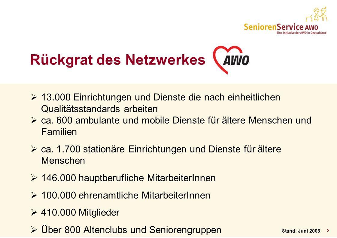 5 Rückgrat des Netzwerkes 13.000 Einrichtungen und Dienste die nach einheitlichen Qualitätsstandards arbeiten ca. 600 ambulante und mobile Dienste für