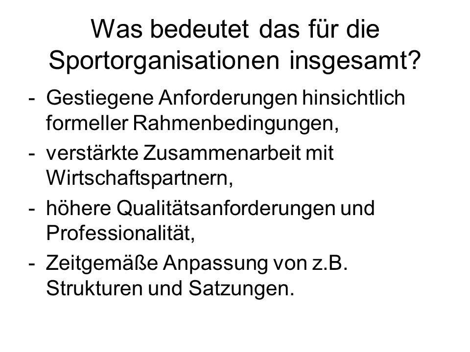 Was bedeutet das für die Sportorganisationen insgesamt.