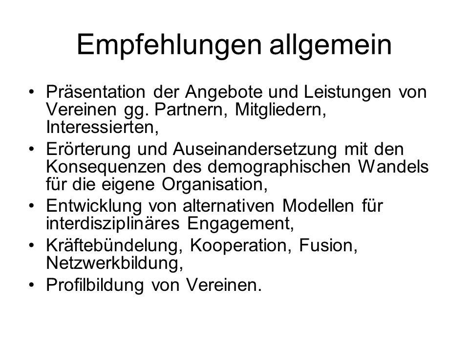 Empfehlungen allgemein Präsentation der Angebote und Leistungen von Vereinen gg.