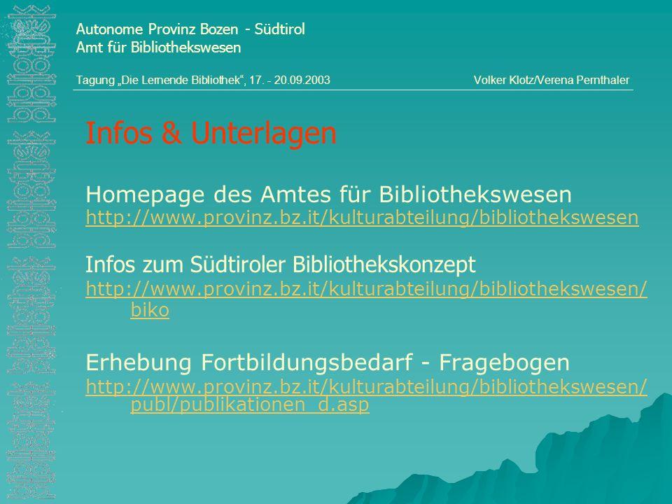 Autonome Provinz Bozen - Südtirol Amt für Bibliothekswesen Tagung Die Lernende Bibliothek, 17. - 20.09.2003Volker Klotz/Verena Pernthaler Infos & Unte