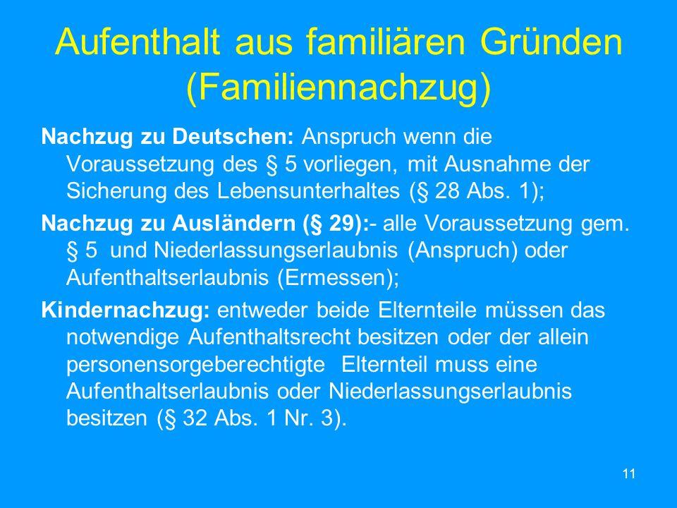 11 Aufenthalt aus familiären Gründen (Familiennachzug) Nachzug zu Deutschen: Anspruch wenn die Voraussetzung des § 5 vorliegen, mit Ausnahme der Siche