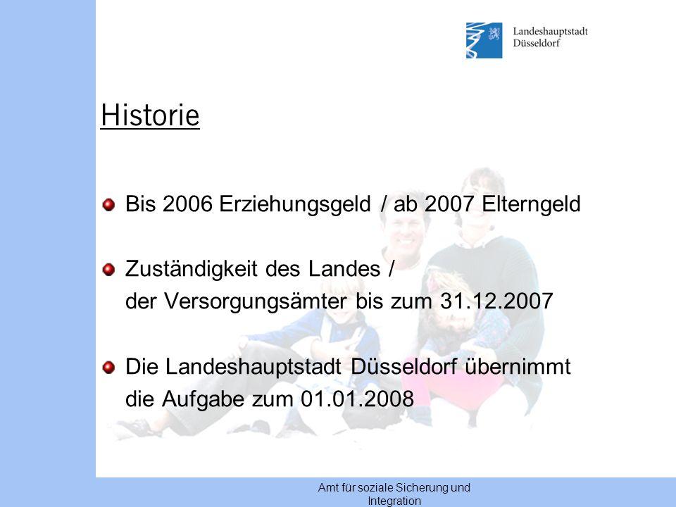 Amt für soziale Sicherung und Integration Historie Bis 2006 Erziehungsgeld / ab 2007 Elterngeld Zuständigkeit des Landes / der Versorgungsämter bis zu