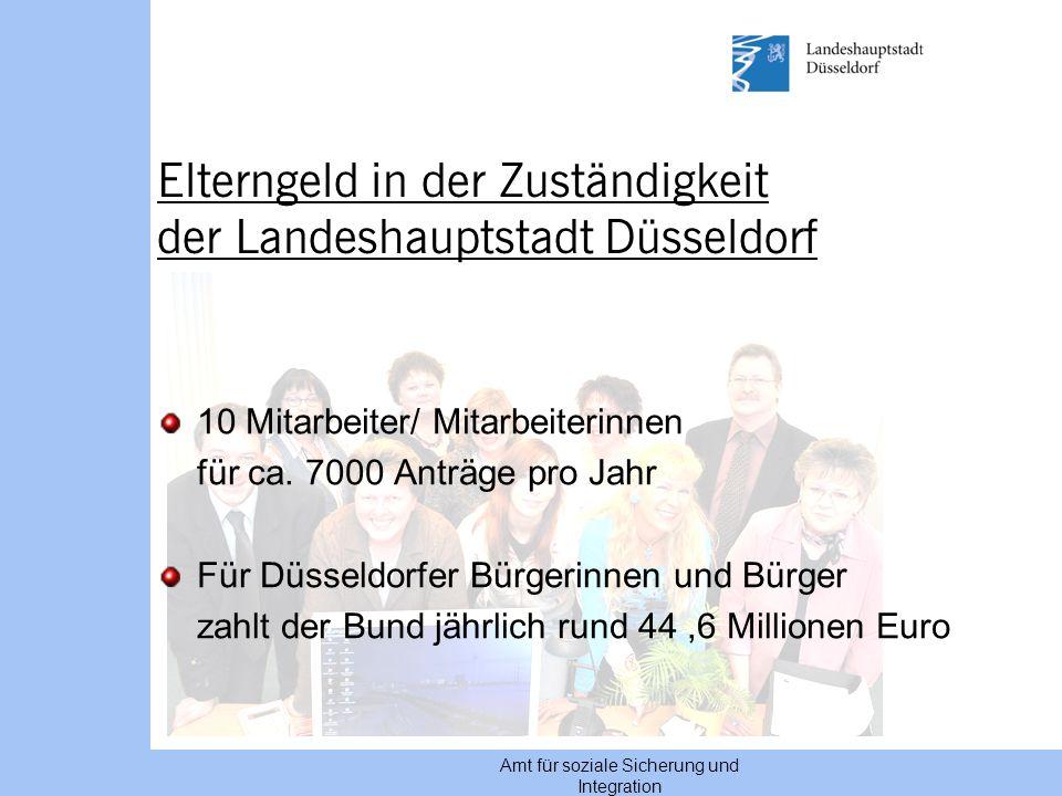 Amt für soziale Sicherung und Integration Elterngeld in der Zuständigkeit der Landeshauptstadt Düsseldorf 10 Mitarbeiter/ Mitarbeiterinnen für ca. 700