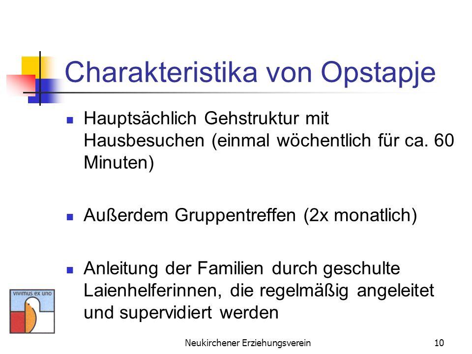 Neukirchener Erziehungsverein10 Charakteristika von Opstapje Hauptsächlich Gehstruktur mit Hausbesuchen (einmal wöchentlich für ca. 60 Minuten) Außerd