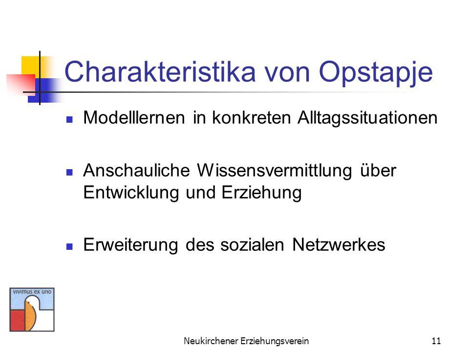 Neukirchener Erziehungsverein11 Charakteristika von Opstapje Modelllernen in konkreten Alltagssituationen Anschauliche Wissensvermittlung über Entwick