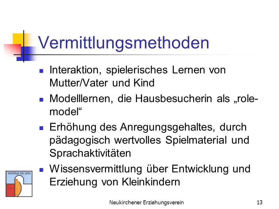 Neukirchener Erziehungsverein13 Vermittlungsmethoden Interaktion, spielerisches Lernen von Mutter/Vater und Kind Modelllernen, die Hausbesucherin als