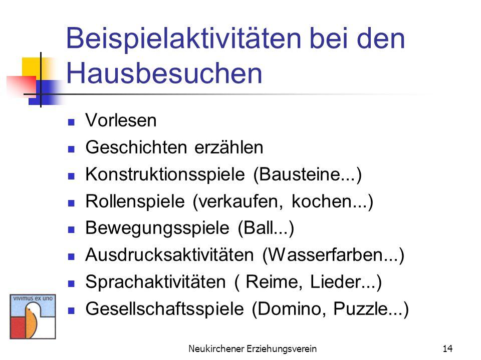 Neukirchener Erziehungsverein14 Beispielaktivitäten bei den Hausbesuchen Vorlesen Geschichten erzählen Konstruktionsspiele (Bausteine...) Rollenspiele