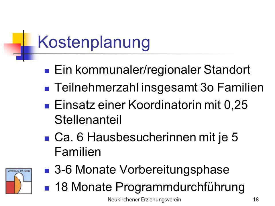 Neukirchener Erziehungsverein18 Kostenplanung Ein kommunaler/regionaler Standort Teilnehmerzahl insgesamt 3o Familien Einsatz einer Koordinatorin mit