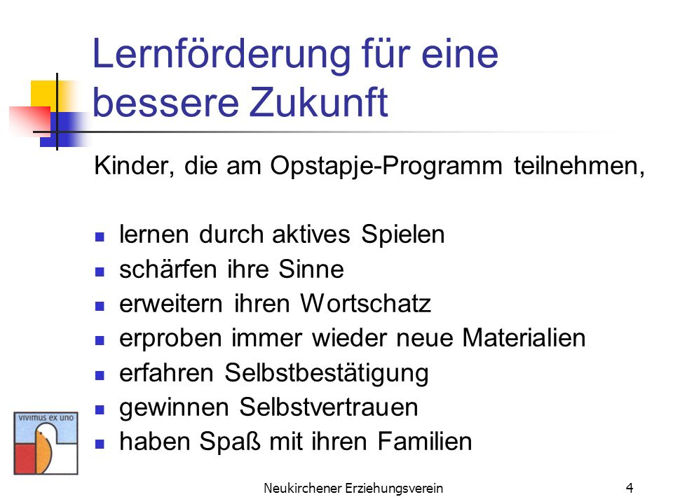 Neukirchener Erziehungsverein5 Opstapje - Schritt für Schritt Das Programm