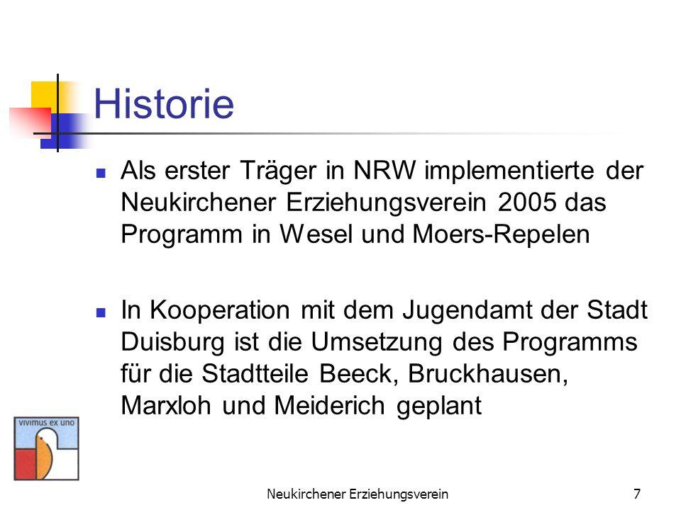 Neukirchener Erziehungsverein7 Historie Als erster Träger in NRW implementierte der Neukirchener Erziehungsverein 2005 das Programm in Wesel und Moers