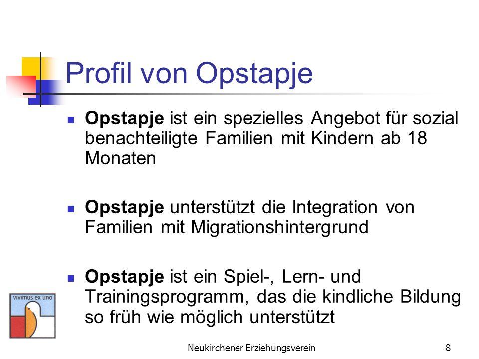 Neukirchener Erziehungsverein9 Profil von Opstapje Opstapje nimmt Einfluss auf die Interaktionsformen zwischen Eltern und Kindern Opstapje- Spielmaterialien regen die kognitive, motorische, sprachliche und sensorische Entwicklung der Kinder an